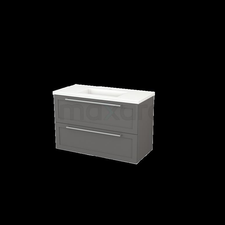 Badkamermeubel 100cm Modulo+ Basalt 2 Lades Kader Wastafel Keramiek