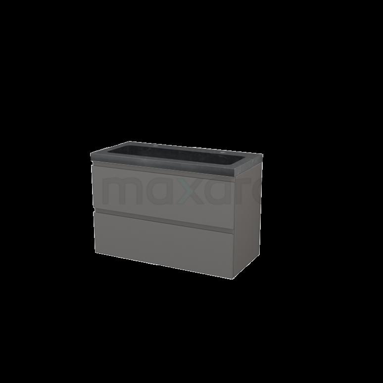 Maxaro Modulo+ BMP003194 Badkamermeubel 100cm Modulo+ Basalt 2 Lades Greeploos Natuursteen Graniet Zwart