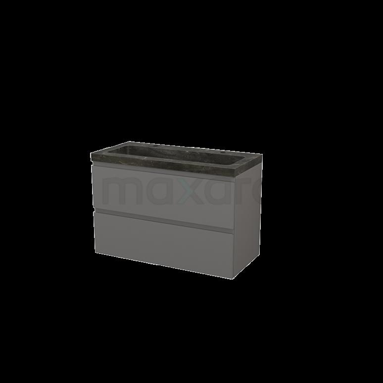 Badkamermeubel 100cm Modulo+ Basalt 2 Lades Greeploos Wastafel Natuursteen Blue Stone