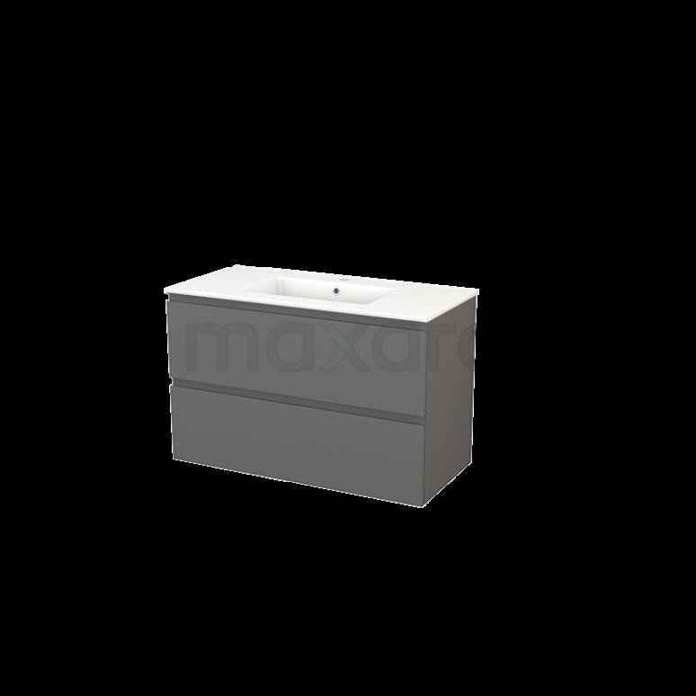Badkamermeubel 100cm Modulo+ Basalt 2 Lades Greeploos Wastafel Keramiek