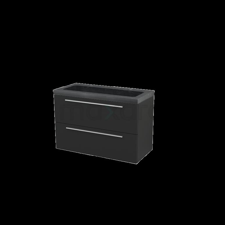 Badkamermeubel 100cm Modulo+ Carbon 2 Lades Vlak Wastafel Natuursteen Graniet