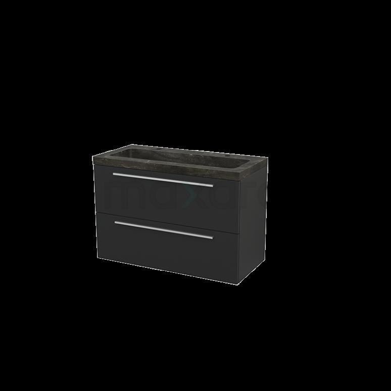Maxaro Modulo+ BMP003206 Badkamermeubel 100cm Modulo+ Carbon 2 Lades Vlak Wastafel Natuursteen Blue Stone