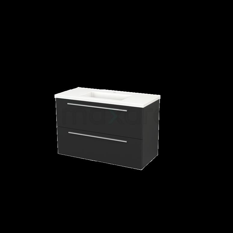 Maxaro Modulo+ BMP003210 Badkamermeubel 100cm Modulo+ Carbon 2 Lades Vlak Keramiek