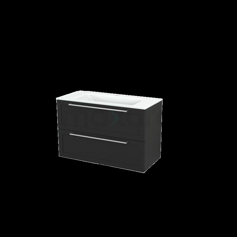 Badkamermeubel 100cm Modulo+ Carbon 2 Lades Kader Wastafel Glas