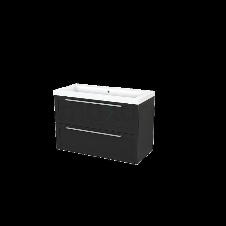 Badkamermeubel 100cm Modulo+ Carbon 2 Lades Kader Wastafel Mineraalmarmer