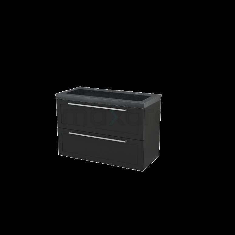 Badkamermeubel 100cm Modulo+ Carbon 2 Lades Kader Wastafel Natuursteen Graniet