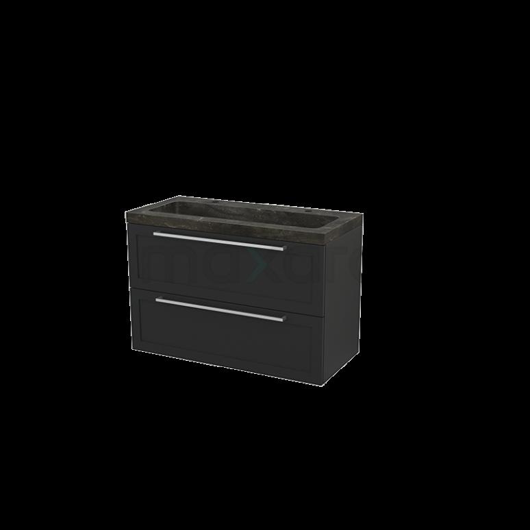 Badkamermeubel 100cm Modulo+ Carbon 2 Lades Kader Wastafel Natuursteen Blue Stone