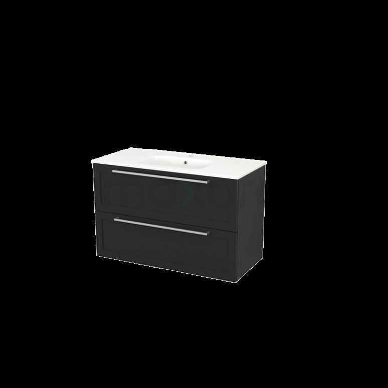 Badkamermeubel 100cm Modulo+ Carbon 2 Lades Kader Wastafel Keramiek