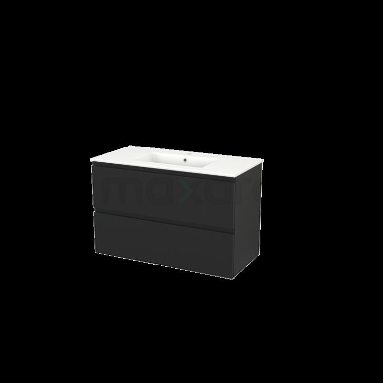 Badkamermeubel 100cm Modulo+ Carbon 2 Lades Greeploos Wastafel Keramiek
