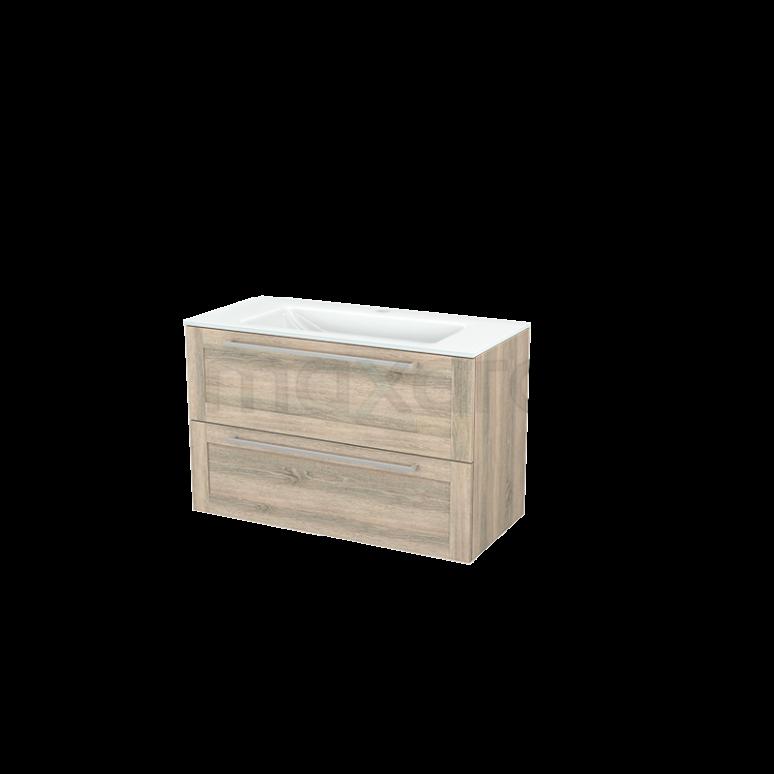 Badkamermeubel 100cm Modulo+ Eiken 2 Lades Kader Wastafel Glas