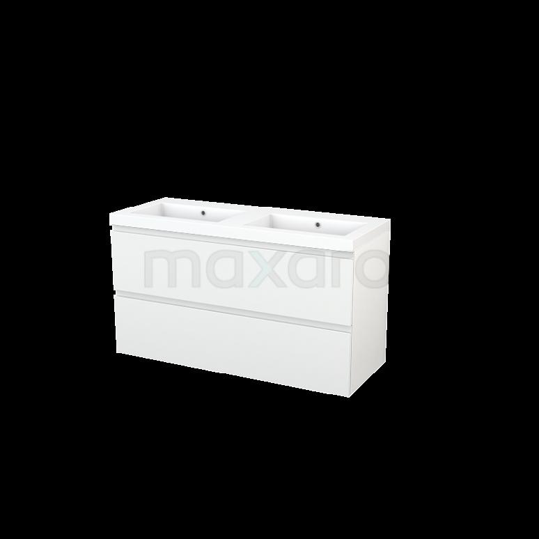 Maxaro Modulo+ BMP003351 Badkamermeubel 120cm Modulo+ Hoogglans Wit 2 Lades Greeploos Wastafel Mineraalmarmer