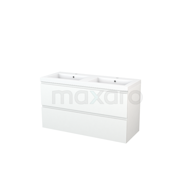 Maxaro Modulo+ BMP003405 Badkamermeubel 120cm Modulo+ Mat Wit 2 Lades Greeploos Mineraalmarmer