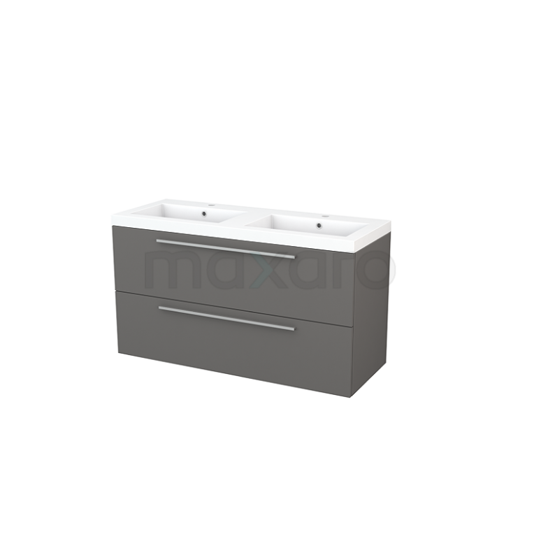 Maxaro Modulo+ BMP003418 Badkamermeubel 120cm Modulo+ Basalt 2 Lades Vlak Wastafel Mineraalmarmer