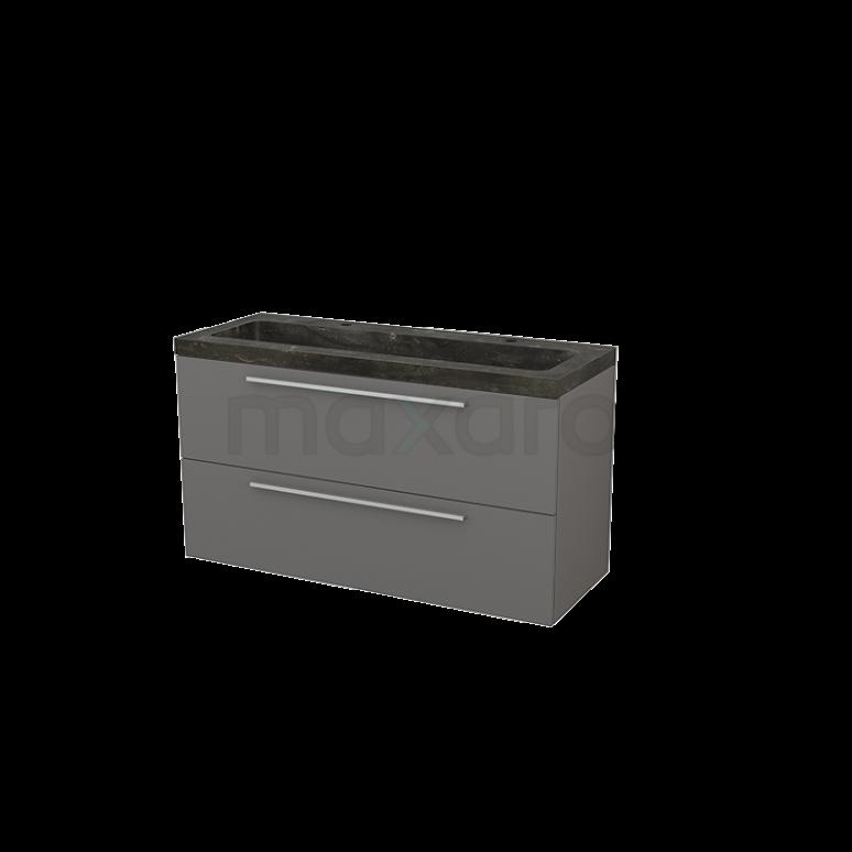 Badkamermeubel 120cm Modulo+ Basalt 2 Lades Vlak Wastafel Natuursteen Blue Stone