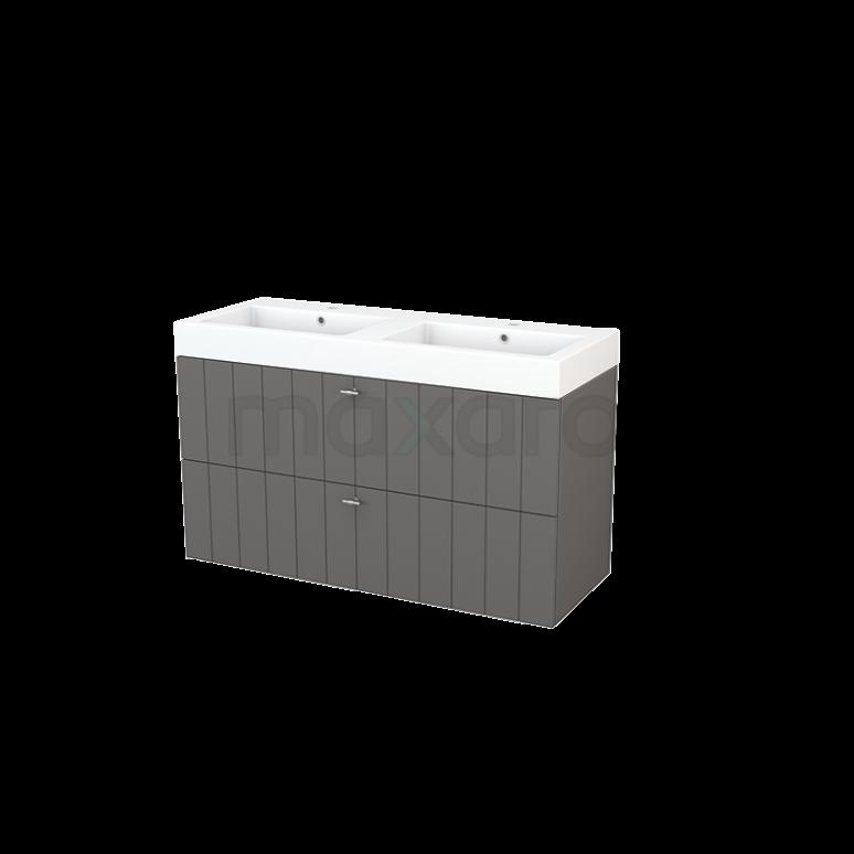 Badkamermeubel 120cm Modulo+ Basalt 2 Lades Lamel Wastafel Mineraalmarmer