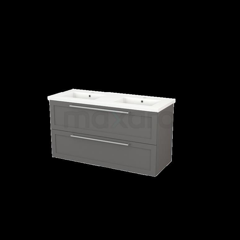 Badkamermeubel 120cm Modulo+ Basalt 2 Lades Kader Wastafel Keramiek