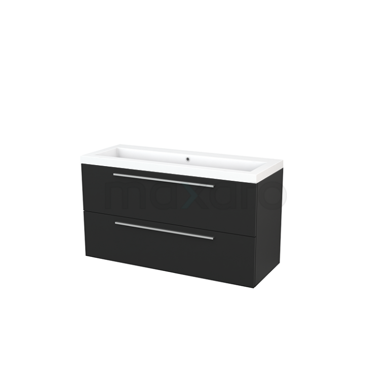 Maxaro Modulo+ BMP003469 Badkamermeubel 120cm Modulo+ Carbon 2 Lades Vlak Wastafel Mineraalmarmer