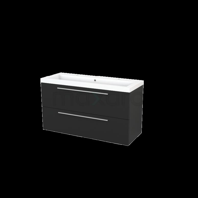 Maxaro Modulo+ BMP003471 Badkamermeubel 120cm Modulo+ Carbon 2 Lades Vlak Mineraalmarmer