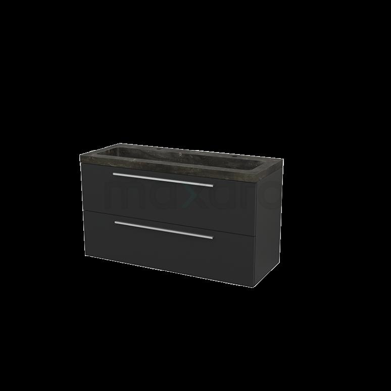 Badkamermeubel 120cm Modulo+ Carbon 2 Lades Vlak Wastafel Natuursteen Blue Stone