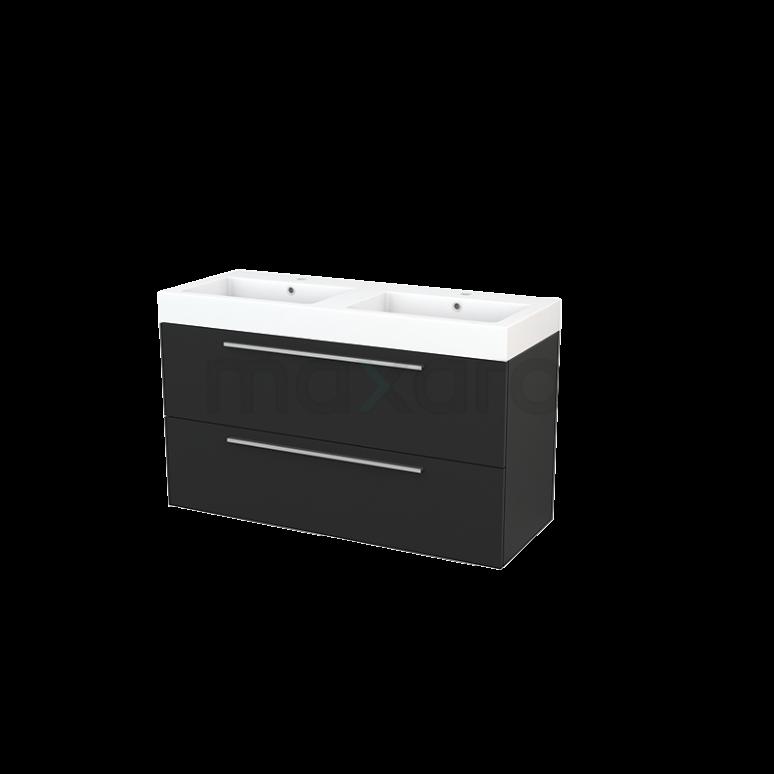 Badkamermeubel 120cm Modulo+ Carbon 2 Lades Vlak Wastafel Mineraalmarmer