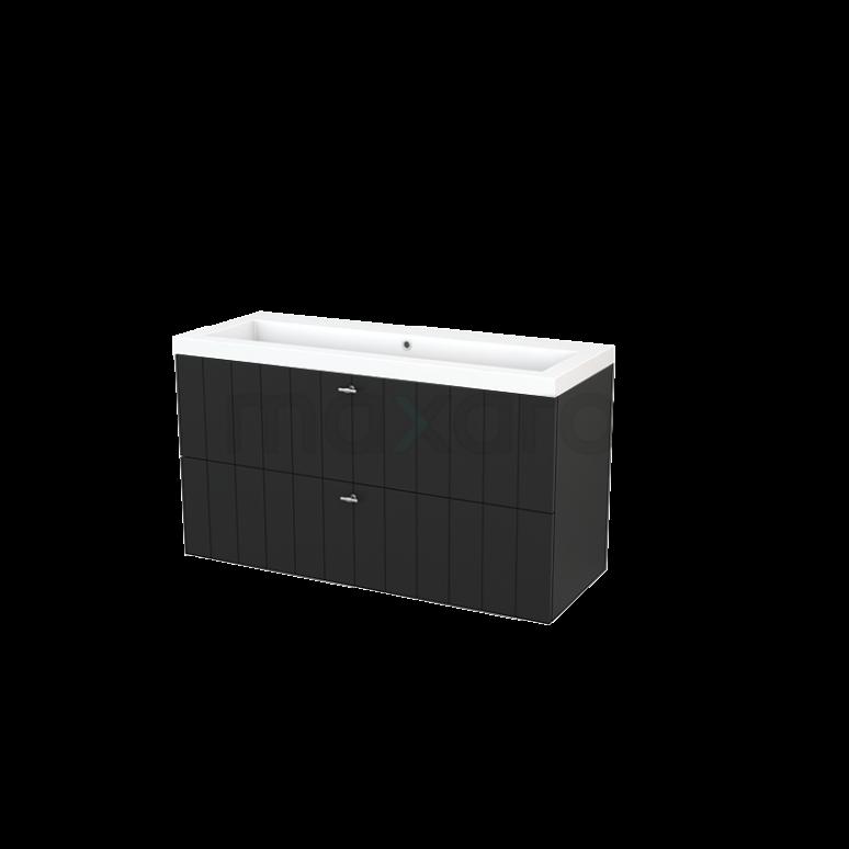 Badkamermeubel 120cm Modulo+ Carbon 2 Lades Lamel Wastafel Mineraalmarmer