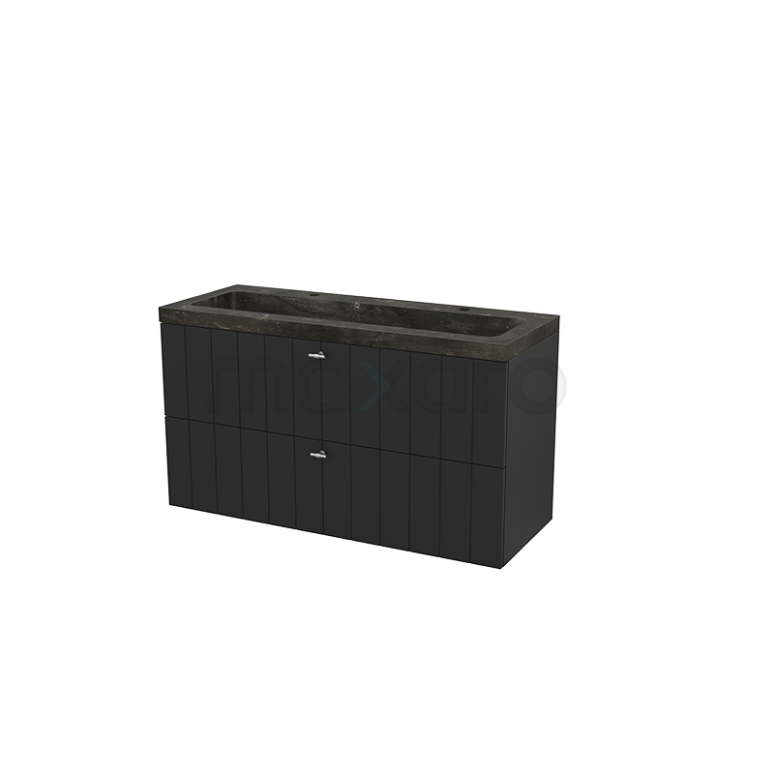 Badkamermeubel 120cm Modulo+ Carbon 2 Lades Lamel Wastafel Natuursteen Blue Stone