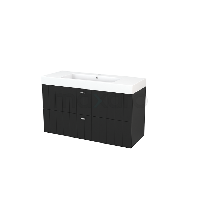 Maxaro Modulo+ BMP003488 Badkamermeubel 120cm Modulo+ Carbon 2 Lades Lamel Wastafel Mineraalmarmer