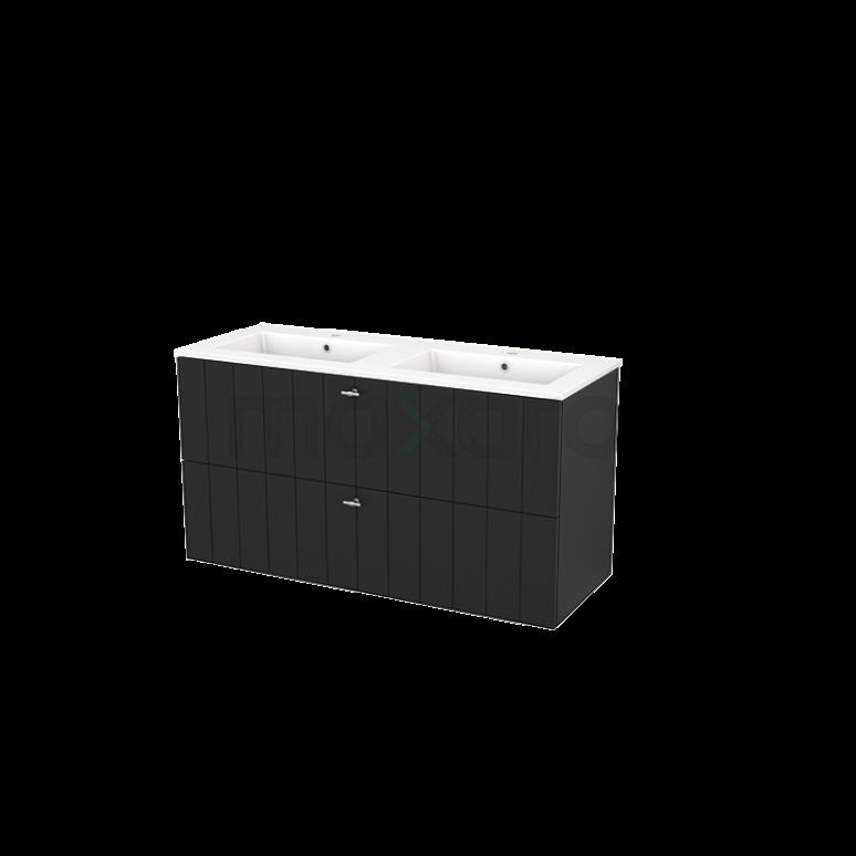 Badkamermeubel 120cm Modulo+ Carbon 2 Lades Lamel Wastafel Keramiek