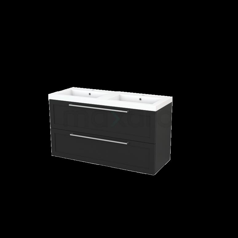 Badkamermeubel 120cm Modulo+ Carbon 2 Lades Kader Wastafel Mineraalmarmer