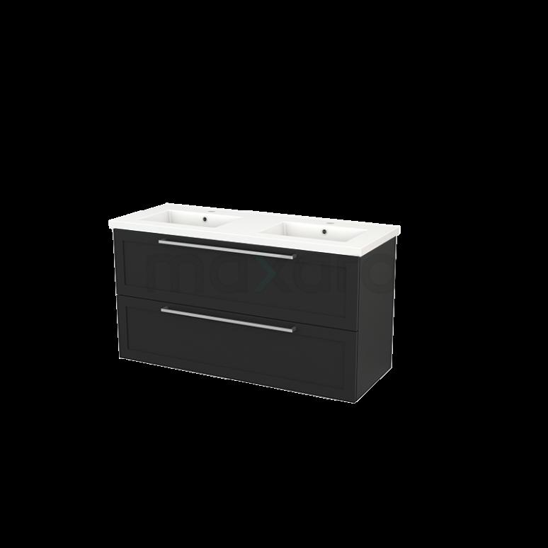 Badkamermeubel 120cm Modulo+ Carbon 2 Lades Kader Wastafel Keramiek