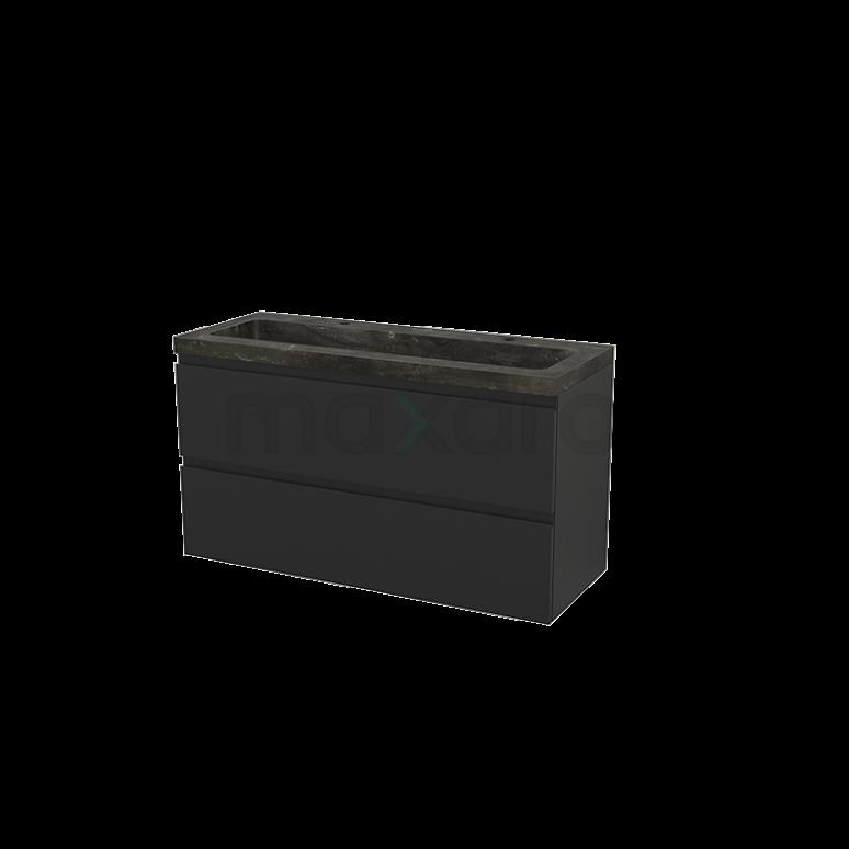 Maxaro Modulo+ BMP003512 Badkamermeubel 120cm Modulo+ Carbon 2 Lades Greeploos Wastafel Natuursteen Blue Stone