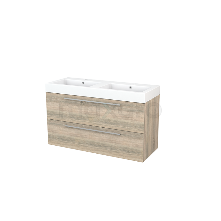 Badkamermeubel 120cm Modulo+ Eiken 2 Lades Vlak Wastafel Mineraalmarmer