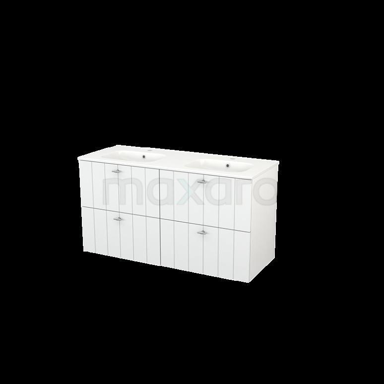 Badkamermeubel 120cm Modulo+ Hoogglans Wit 4 Lades Lamel Wastafel Keramiek