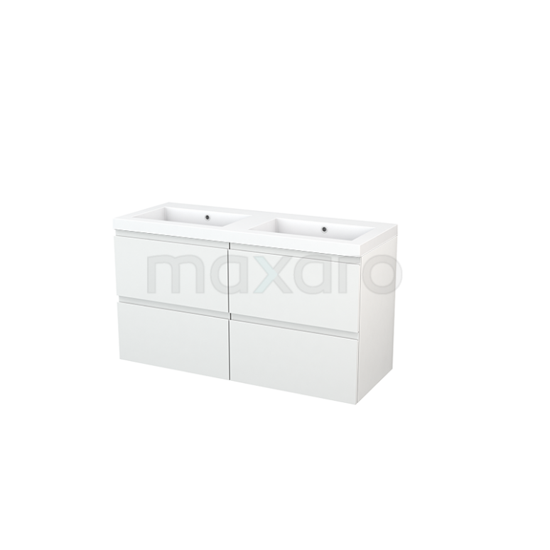 Badkamermeubel 120cm Modulo+ Hoogglans Wit 4 Lades Greeploos Wastafel Mineraalmarmer