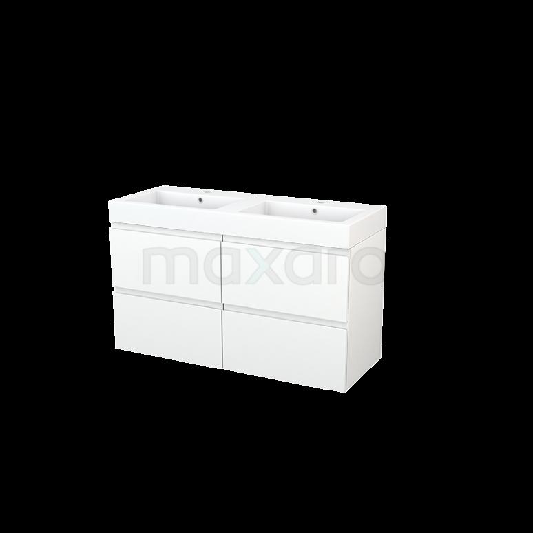 Badkamermeubel 120cm Modulo+ Mat Wit 4 Lades Greeploos Wastafel Mineraalmarmer