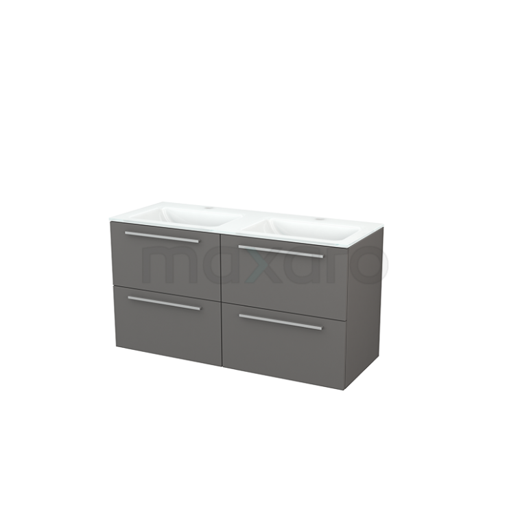 Maxaro Modulo+ BMP003990 Badkamermeubel 120cm Modulo+ Basalt 4 Lades Vlak Wastafel Glas