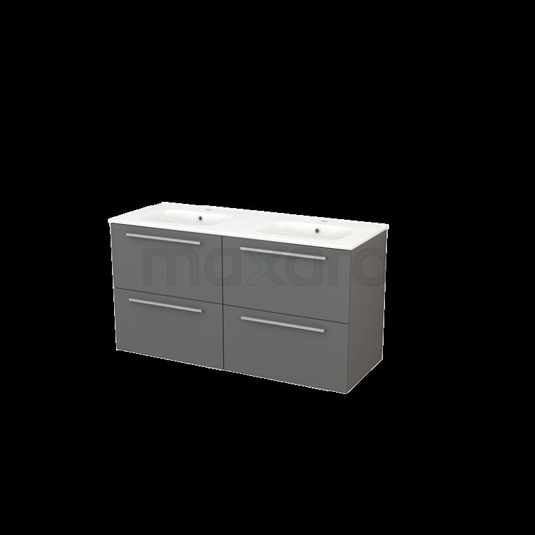 Badkamermeubel 120cm Modulo+ Basalt 4 Lades Vlak Wastafel Keramiek