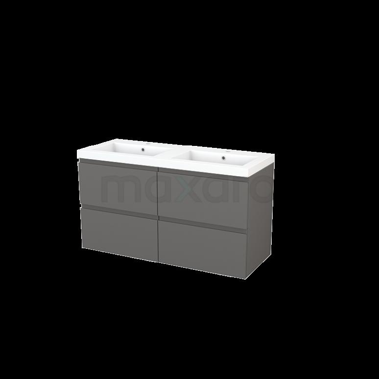Badkamermeubel 120cm Modulo+ Basalt 4 Lades Greeploos Wastafel Mineraalmarmer