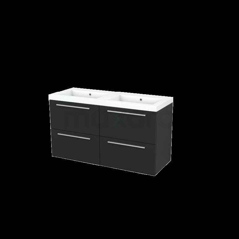 Maxaro Modulo+ BMP004024 Badkamermeubel 120cm Modulo+ Carbon 4 Lades Vlak Wastafel Mineraalmarmer