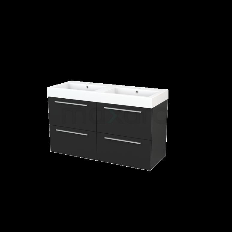 Badkamermeubel 120cm Modulo+ Carbon 4 Lades Vlak Wastafel Mineraalmarmer