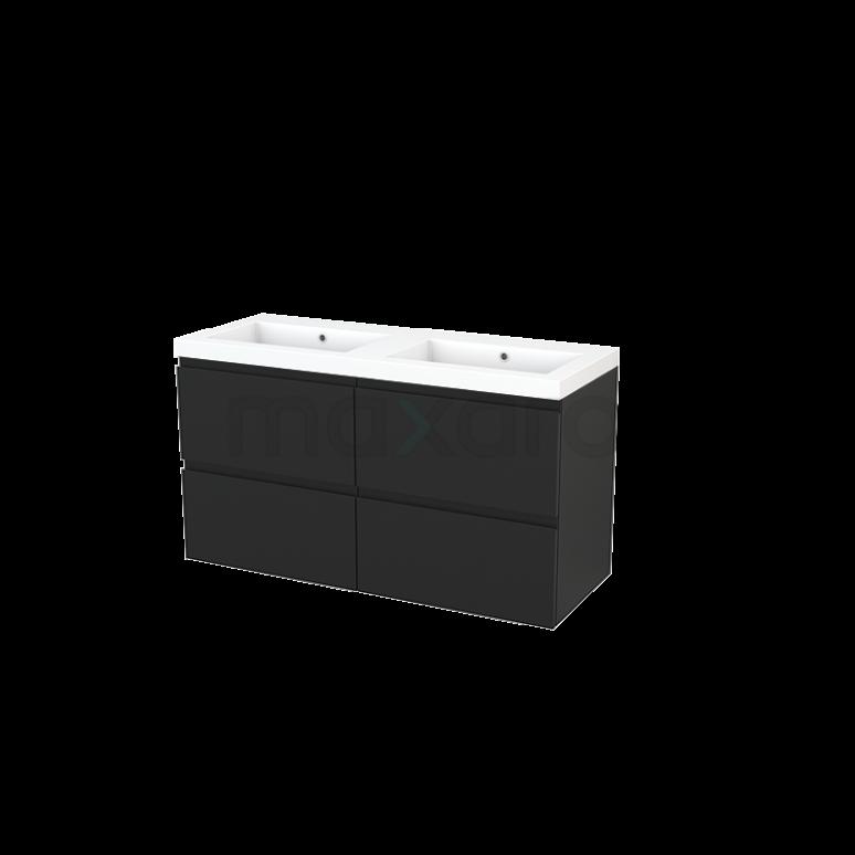 Maxaro Modulo+ BMP004048 Badkamermeubel 120cm Modulo+ Carbon 4 Lades Greeploos Wastafel Mineraalmarmer