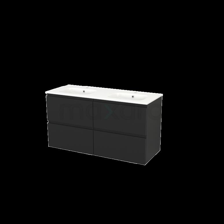 Maxaro Modulo+ BMP004052 Badkamermeubel 120cm Modulo+ Carbon 4 Lades Greeploos Wastafel Keramiek