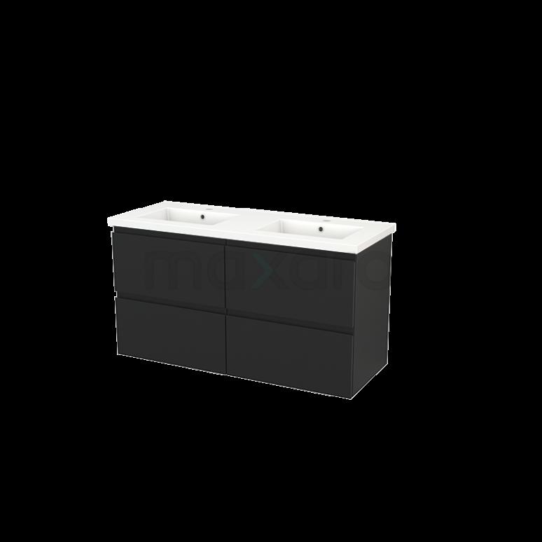 Badkamermeubel 120cm Modulo+ Carbon 4 Lades Greeploos Wastafel Keramiek