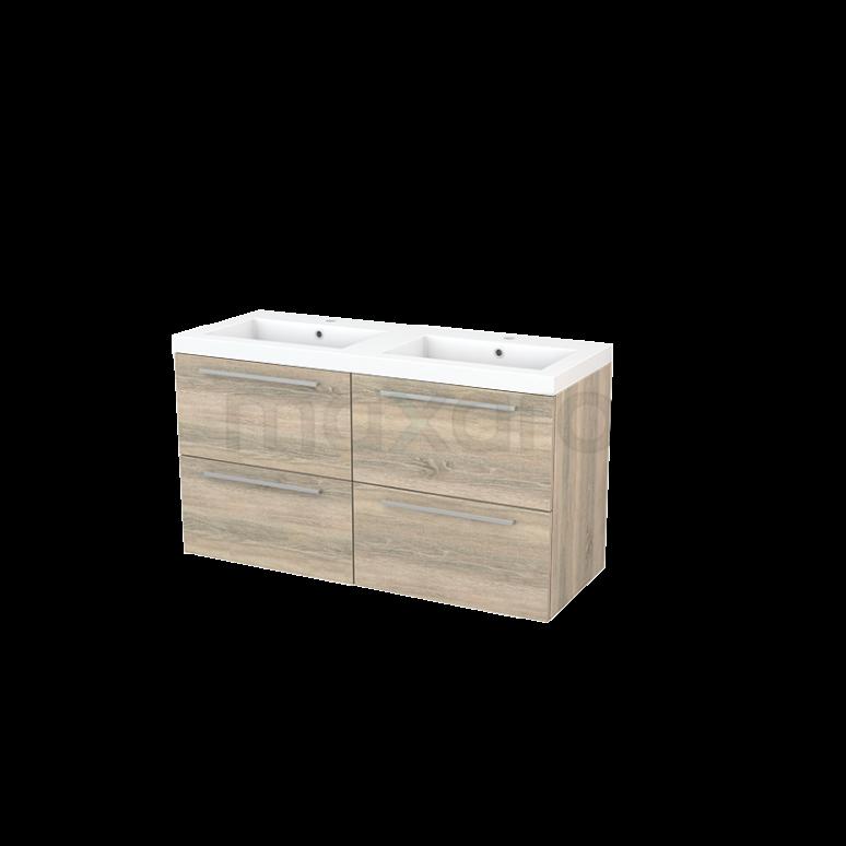 Badkamermeubel 120cm Modulo+ Eiken 4 Lades Vlak Wastafel Mineraalmarmer