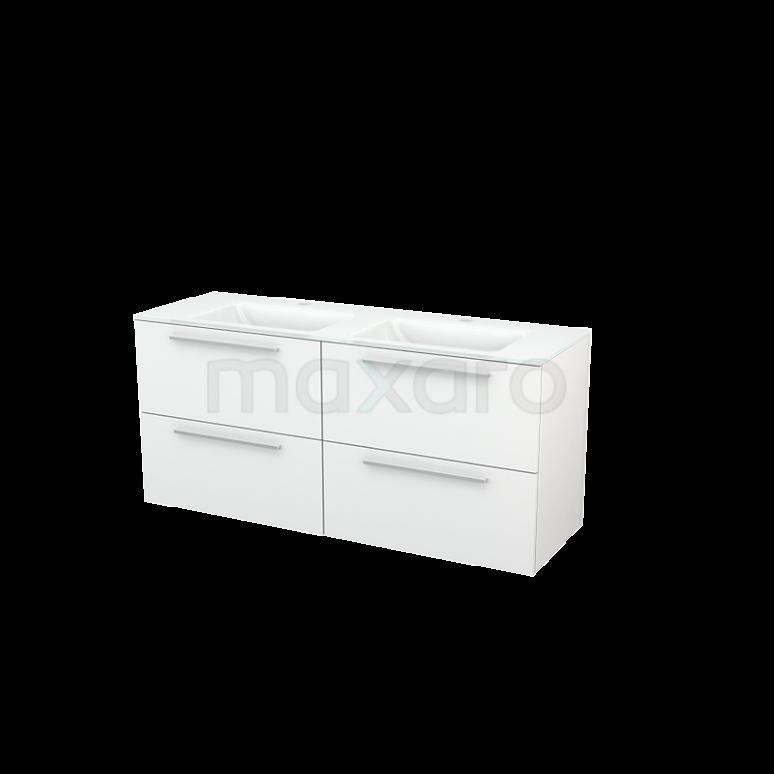 Maxaro Modulo+ BMP004102 Badkamermeubel 140cm Modulo+ Hoogglans Wit 4 Lades Vlak Wastafel Glas