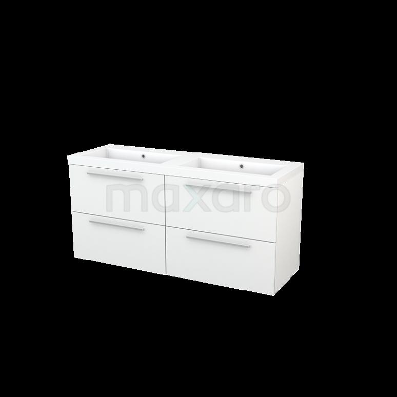 Maxaro Modulo+ BMP004104 Badkamermeubel 140cm Modulo+ Hoogglans Wit 4 Lades Vlak Mineraalmarmer