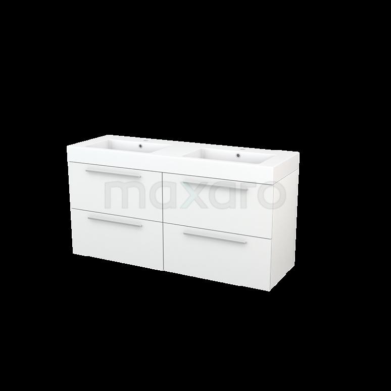 Maxaro Modulo+ BMP004106 Badkamermeubel 140cm Modulo+ Hoogglans Wit 4 Lades Vlak Mineraalmarmer