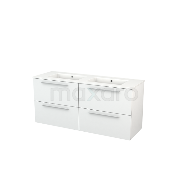 Maxaro Modulo+ BMP004107 Badkamermeubel 140cm Modulo+ Hoogglans Wit 4 Lades Vlak Keramiek