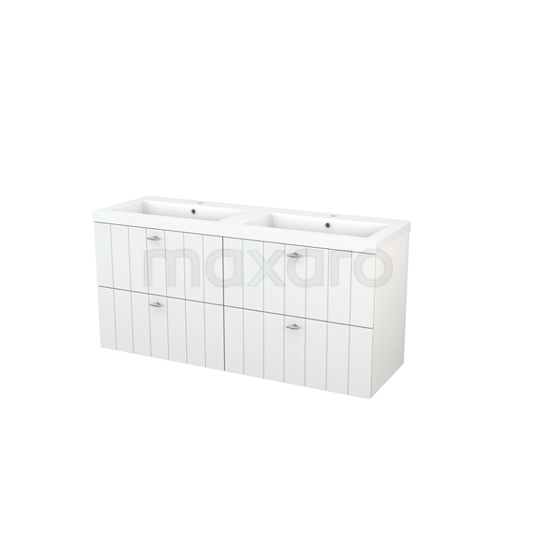 Badkamermeubel 140cm Modulo+ Hoogglans Wit 4 Lades Lamel Wastafel Mineraalmarmer