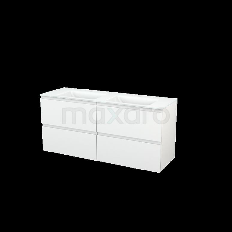 Maxaro Modulo+ BMP004120 Badkamermeubel 140cm Modulo+ Hoogglans Wit 4 Lades Greeploos Wastafel Glas